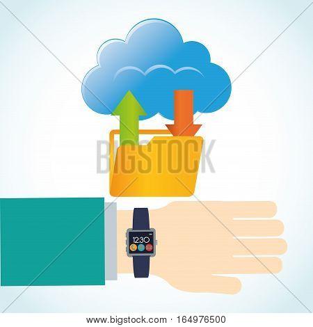 hand smart watch wearable technology folder cloud app vector illustration eps 10