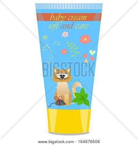 High quality original trendy vector Baby cream tube with kids design and cat, mint illustration