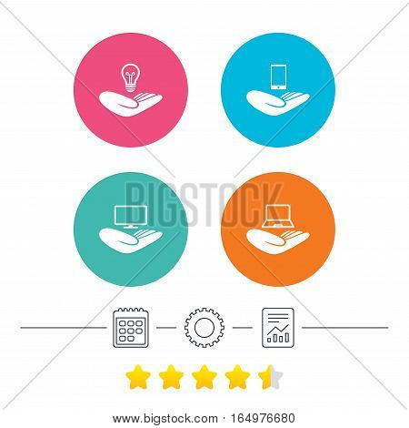 Helping hands icons. Intellectual property insurance symbol. Smartphone, TV monitor and pc notebook sign. Device protection. Calendar, cogwheel and report linear icons. Star vote ranking. Vector