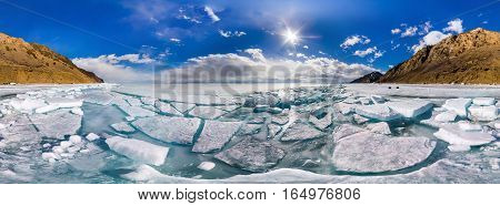 360 Cylindrical Panorama Ice Baikal Hummocks In Olkhon Island