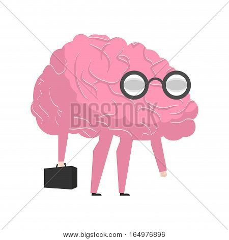 Smart Brain Wearing Glasses And With Suitcase. Genius Researcher. Businessman Mega Brains