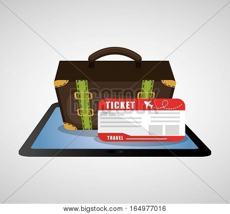 travel online ticket airline plane suitcase vector illustration eps 10