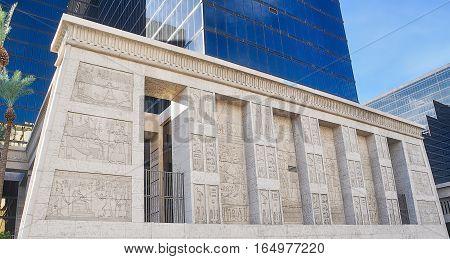 VEGAS NEVADA USA - January 11th 2016: Luxor hieroglyphs wall
