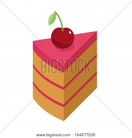 Cherry Cake Piece With Berry Isolated. Cherries Pie On White Background