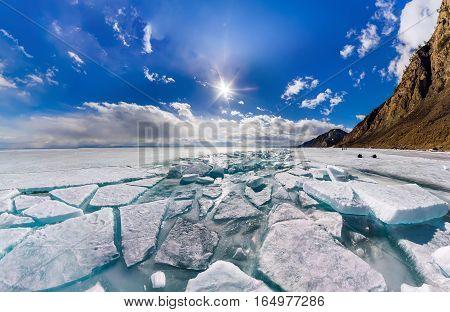 Wide Panorama Of Lake Baikal Ice Hummocks In Olkhon Island