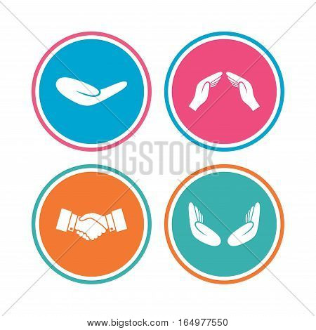 Hand icons. Handshake successful business symbol. Insurance protection sign. Human helping donation hand. Prayer meditation hands. Colored circle buttons. Vector