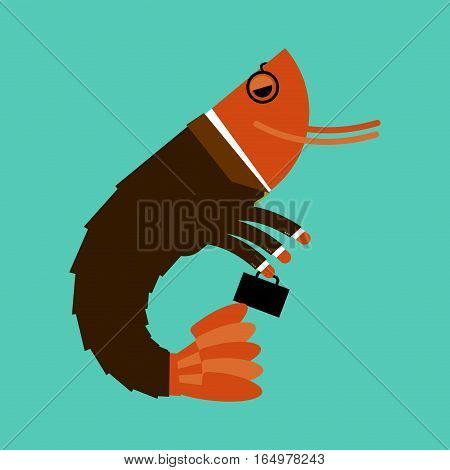 Office Plankton Isolated. Marine Animals In Business Suit. Manager With Suitcase. Pin-striped Masses