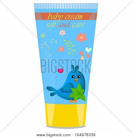 High quality original trendy vector Baby cream tube with kids design and bird, mint illustration