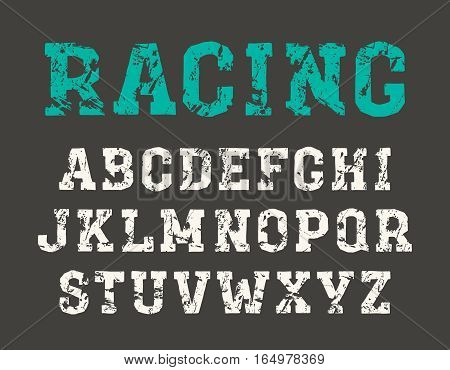 Slab serif font in the style of handmade graphics. Print on black background