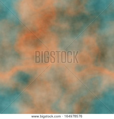 Hazy foggy clouds in orange and teal indigo blue colors