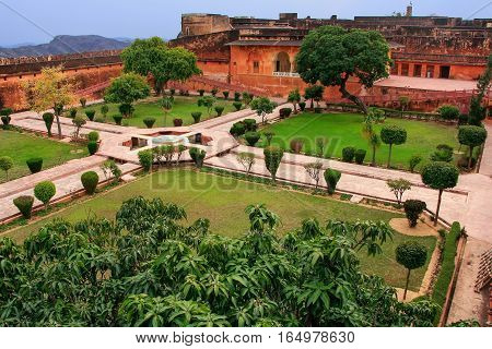 Charbagh Garden In Jaigarh Fort Near Jaipur, Rajasthan, India