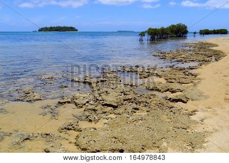 Shore Of Pangaimotu Island Near Tongatapu Island In Tonga