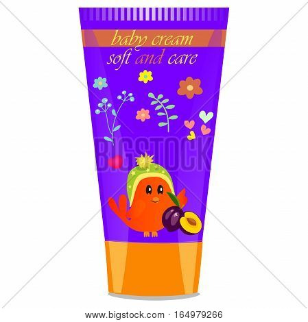 High quality original trendy vector Baby cream tube with kids design and bird, plum illustration