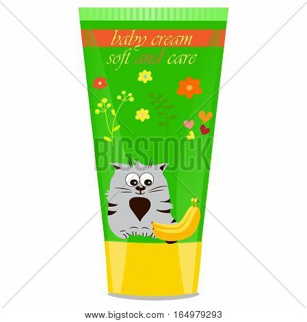 High quality original trendy vector Baby cream tube with kids design and cat, banana illustration