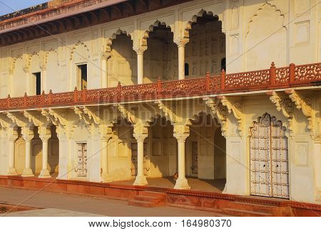 Arcade Surrounding Anguri Bagh (grape Garden) In Agra Fort, Uttar Pradesh, India