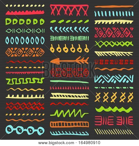 Collection of Hand Drawn Borders in Ethnic Style. Aztec art dividers. Trendy boho separators.