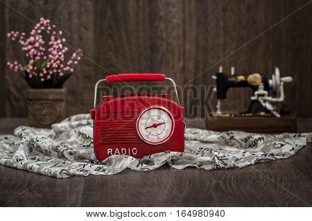 Decorative Red Radio With Retro Look