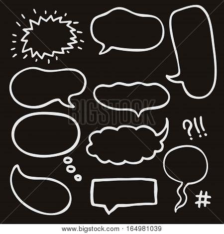 Set of Hand Drawn Comics Style Speech Bubbles