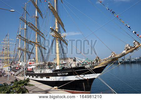 CONSTANTA ROMANIA - SEPTEMBER 8 2016: Kruzenshtern sailing vessel from Russian Federation at Black Sea Tall Ships Regatta 2016 in Constanta harbor.