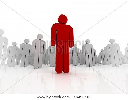 one 3d human stand out of the crowd - dramatic angle