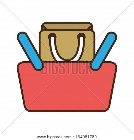 cartoon red basket shopping bag gift online vector illustration eps 10