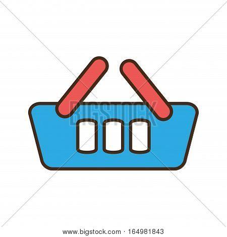 cartoon blue basket shopping online e-commerce vector illustration eps 10