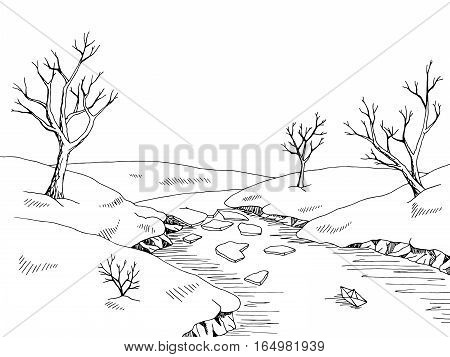 Spring river graphic black white landscape sketch illustration vector