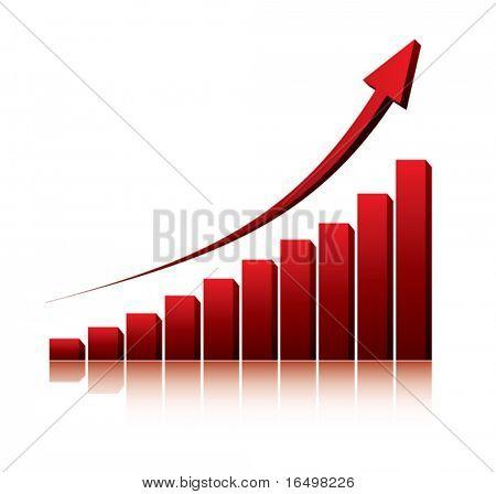 graphique 3D montrant la hausse des profits ou gains / vector illustration