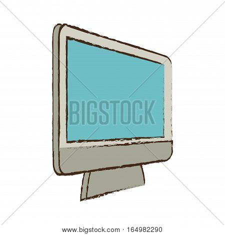 monitor device technology electronic sketch vector illustration eps 10