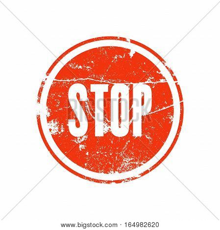 Red rubber stamp with the word stop in grunge style. Road signs vector illustration.