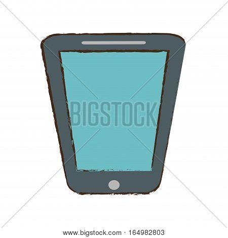 smartphone blue screen technology gadget sketch vector illustration eps 10