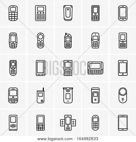 Set of twenty five mobile phones on grey background