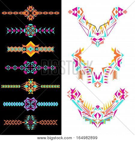 Vector set of decorative elements for design and fashion in ethnic tribal style. Neckline borders and patterns. Aztec ornaments