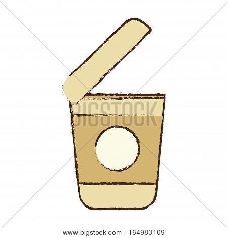 open plastic cup coffee portable sketch vector illustration eps 10