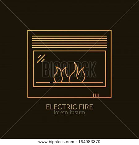 House Heating Single Logo. Illustration of Electric Fire made in trendy line style vector. Clean and Simple modern emblem for shop product or company. Perfect for your business.