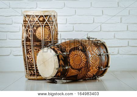 variation of beautiful ethnic indian drums dholak