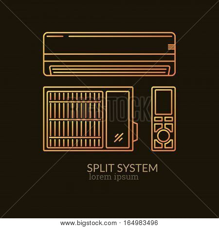 House Heating Single Logo. Illustration of Split System made in trendy line style vector. Clean and Simple modern emblem for shop product or company. Perfect for your business.