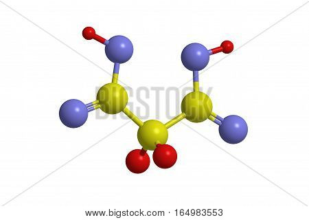 Molecular structure of malonic acid (propanedioic acid). The compound is dicarboxylic acid animals 3D rendering