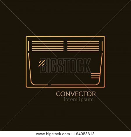 House Heating Single Logo. Illustration of Convector Heater made in trendy line style vector. Clean and Simple modern emblem for shop product or company. Perfect for your business.