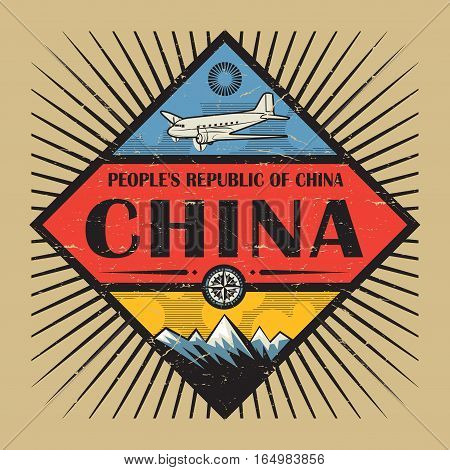 Stamp or vintage emblem with airplane compass mountains and text China vector illustration