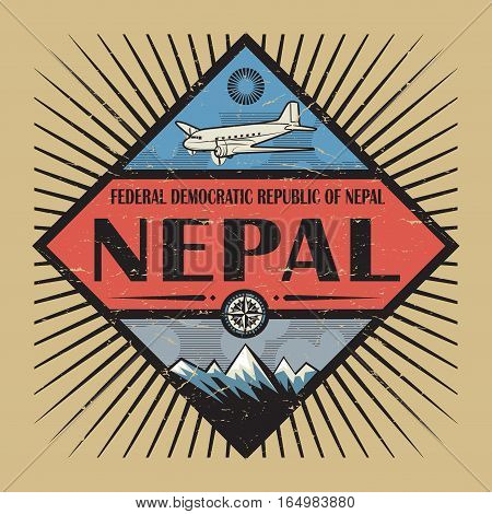 Stamp or vintage emblem with airplane compass mountains and text Nepal vector illustration