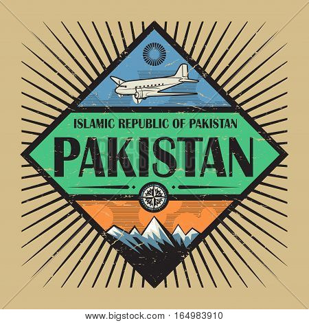 Stamp or vintage emblem with airplane compass mountains and text Pakistan vector illustration