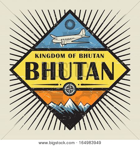 Stamp or vintage emblem with airplane compass mountains and text Bhutan vector illustration
