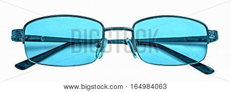 Classic fashion eyeglasses style with blue lenses