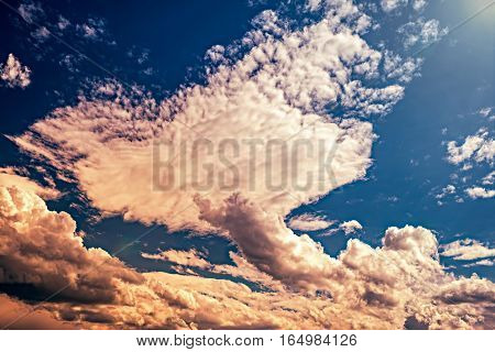 Clouds in the shape of a fish tail