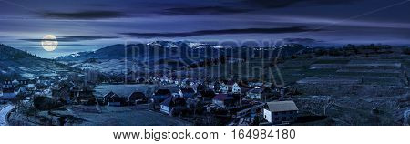 Panorama Of Rural Area In Mountains At Night
