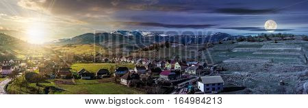 Panorama Of Rural Area In Mountains