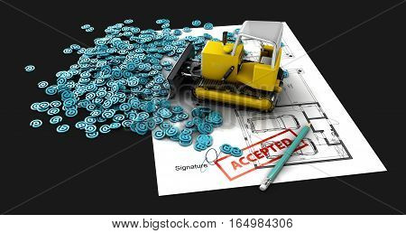 Plan Creation Process Concept Web 3D Illustration. Isolated Black