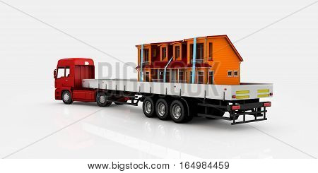 World Wide Cargo Transport Concept. Hause On Board Of Truck , 3D Illustration