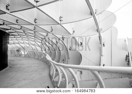 Space Metropol Parasol interior Structures Seville Spain. black and white